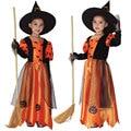 Halloween Costumes for Children Kids Girl Girls Witch Costume Dress Hat Fancy Fantasia Infantil Cosplay Clothing Black Purple