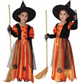 Trajes de halloween para crianças crianças menina meninas witch costume dress chapéu extravagante fantasia infantil roupas cosplay preto roxo