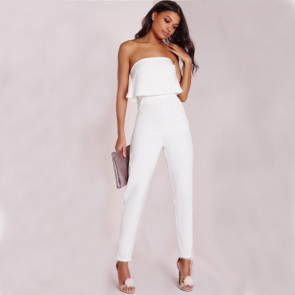 ce76e5429b0c € 15.64 |Monos Blancos sexys para mujeres Jumpsuite pantalones largos  mujeres señoras moda mono fiesta rupas Femininas 2017 mono elegante-in ...