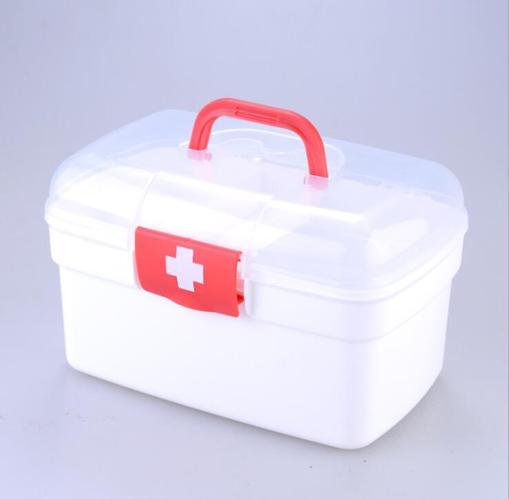 Small medicine box household medicine box plastic medicine box first aid kit pharmacy health center less medicine more health