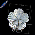 1PCS Silver Plating Jewelry Findings Pearl Necklace Hook Clasps Carved Flower Mother of Pearl Shell Toggle Clasp With Jump Rings
