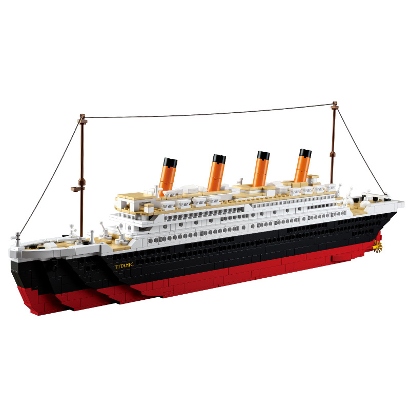 B0577 1021pcs Titanic Building Blocks Toy Cruise Ship RMS Titanic Ship Boat 3D Model Educational Gift Toy legeod brinquedos