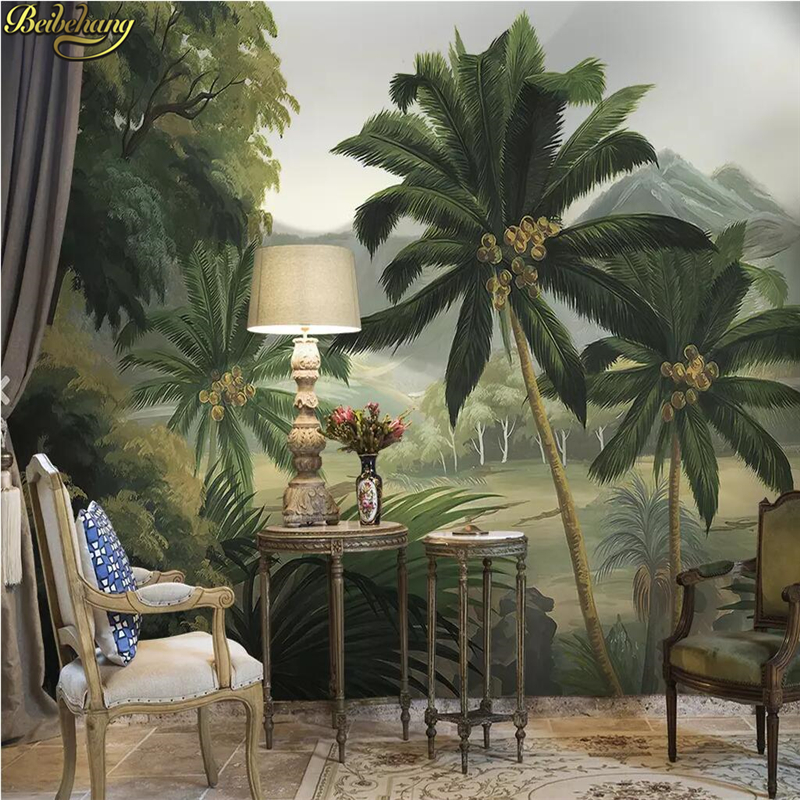 Beibehang Custom Palm Tree Forest River Tropical Rainforest Medieval Photo Mural Wallpapers For Living Room Bedroom Wallpaper 3D