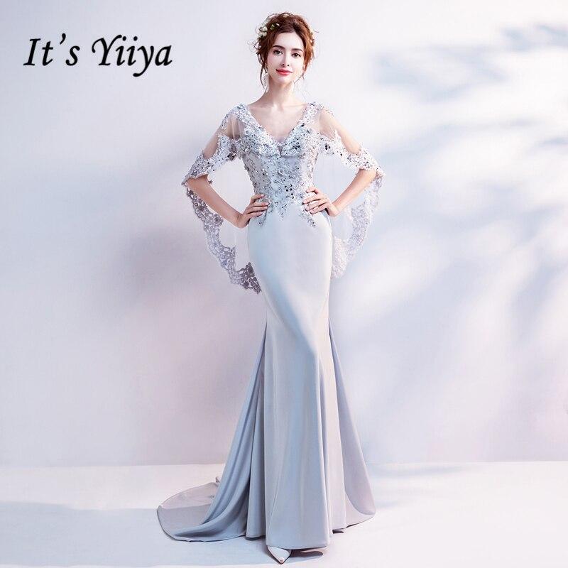 Il Yiiya de V-cou De Luxe Robes De Soirée Sexy Dos Nu Sirène Bling Paillettes Cristal Célèbre Designer Partie Formelle Robe LX262