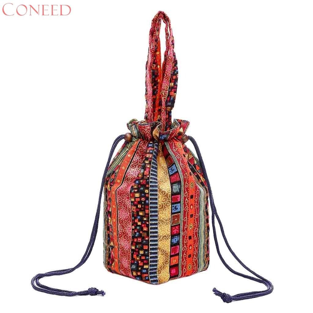 Canvas Drawstring Bucket Bag Floral Printing Crossbody Bag Messenger Bags Shoulder Handbags No26