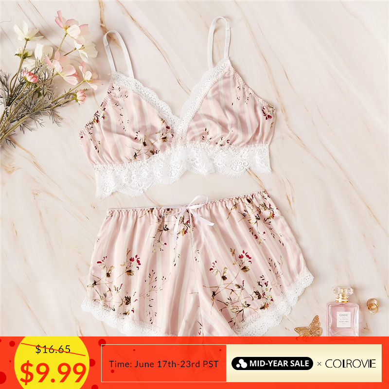 COLROVIE Pink Floral Print Lace Striped Satin Lingerie   Set   Sexy   Pajama     Set   Women 2019 Summer Bra And Briefs Female Sleepwear