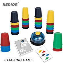 Kedior Speed Cup Stacking Card Game Challenge Quick Reaction Family Games Educational Toys for Kids 6