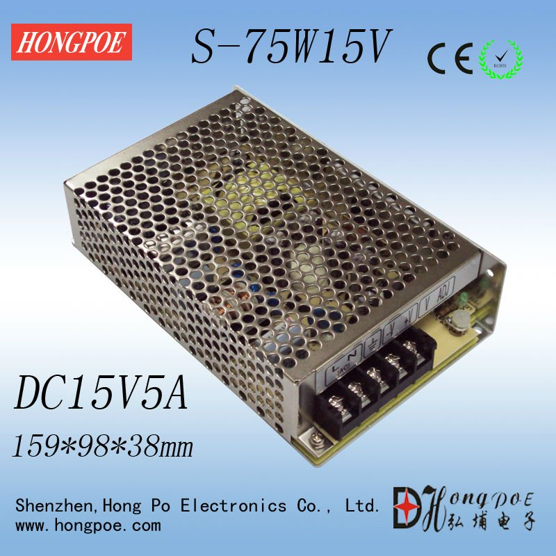 Best quality 15V 5A 75W Switching Power Supply Driver for LED Strip AC 100-240V Input to DC 15V ac 85v 265v to 20 38v 600ma power supply driver adapter for led light lamp