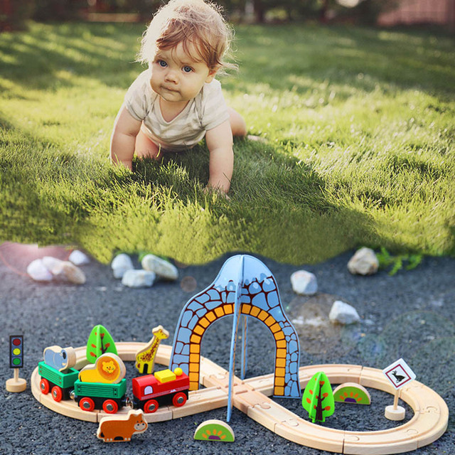 Tomos Wooden Train Track Set Multiple Scenes Railway Magnetic Car Model Slot Puzzles Wooden Educational Toys For Children Friend