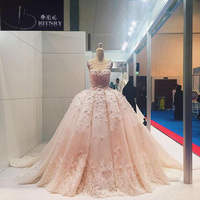 2018 Blush Pink Wedding Dress Ball Gown Lace Appliques Beaded Wedding Gown Flowers Princess Wedding Dresses