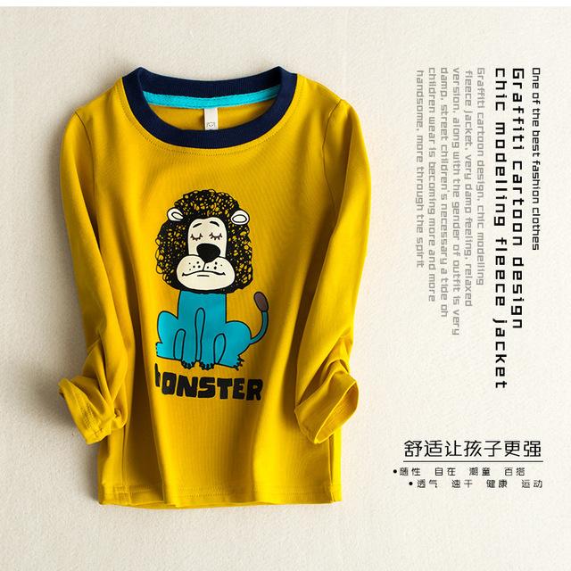 Otoño Invierno 100% Algodón Embroma la Camiseta del León de la Historieta Larga Los Bebés de la manga de La Camiseta Niños Jerseys Tee Niños Ropa de bebé tops