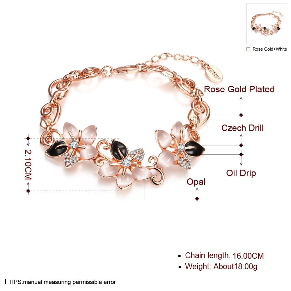 ALULU Mode Blommor Opal Armband Pläterade Guld Bangles Strass - Märkessmycken - Foto 2