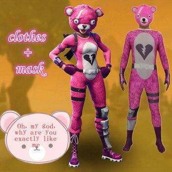 Juego Battle Royale Pink Bear Team Leader Skin Jumpsuit Carnaval y Halloween Unisex traje trajes para Cosplay máscara de látex para mujeres y hombres