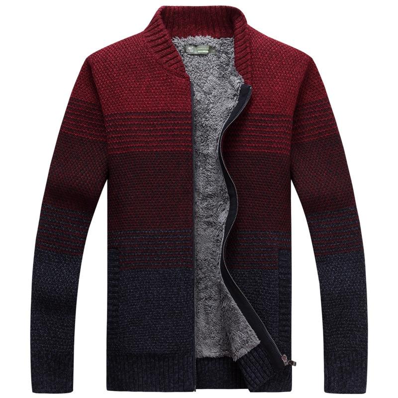LEDINGSEN 2017, красный полосатый мужской свитер на молнии, зимний плотный флисовый вязаный кардиган со стоячим воротником, повседневный модный теплый свитер - 3