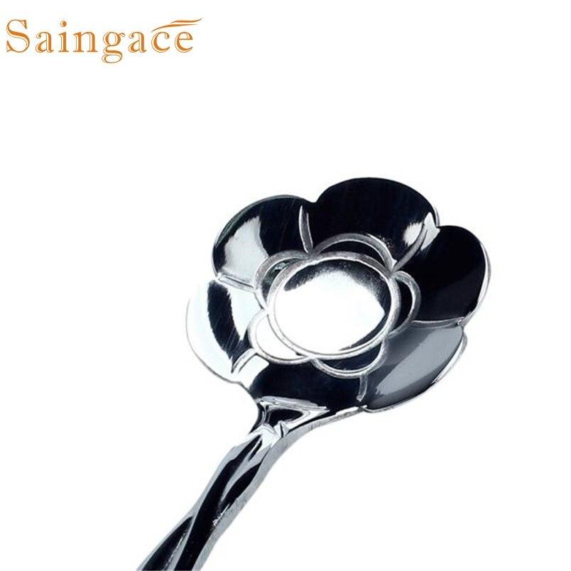 TENSKE Vintage Flower Shape Icecream Tea Coffee Spoon Small Condiment Spoons Sugar Soup*30 Gift Drop