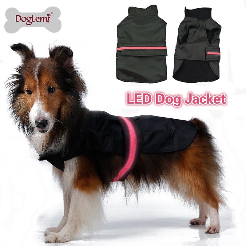 LED 라이트 방수 나일론 대형 개 코트 재킷 개 옷과 DogLemi 안전 애완 동물 개 옷