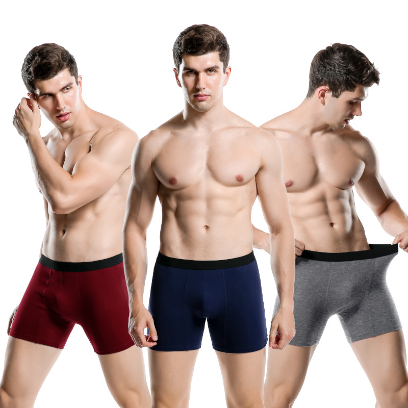 1pc/lot Boxer Europe Big Size Boxers Men Shorts Soft Men's Underwear Male Comfortable Breathable Long Summer Boxers R01