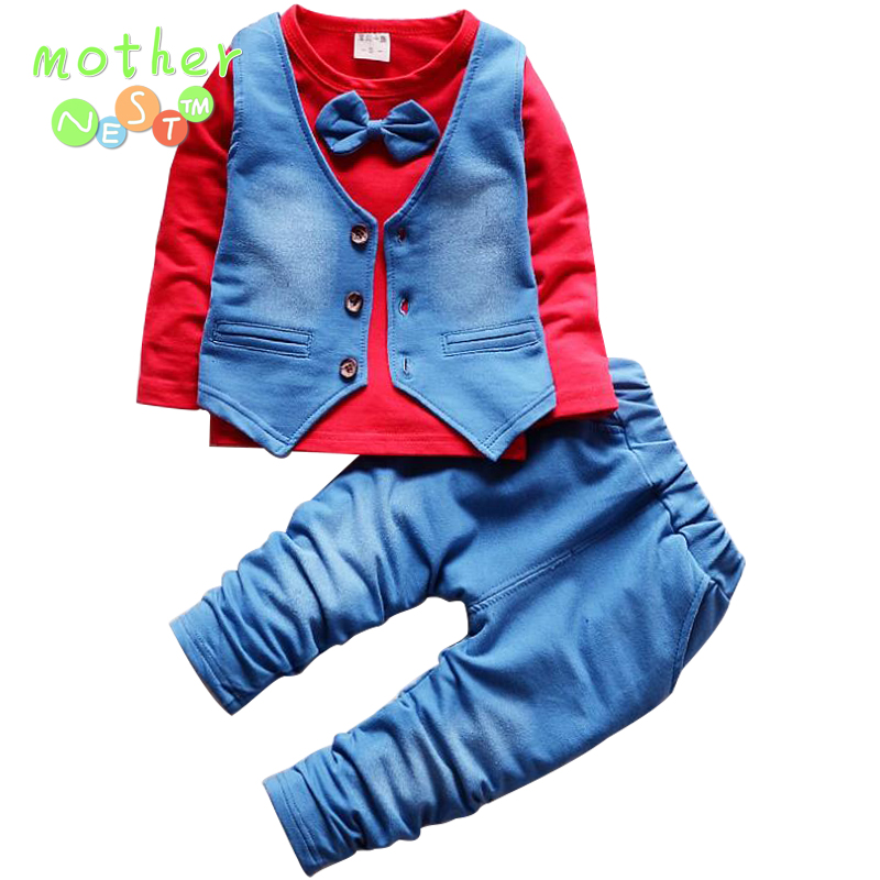 MCTHER NEST 2018 New Formal Baby Boys Suit Long Sleeve Striped Tops Shirt + Pants 3Pcs Gentleman Cotton Outfits ...
