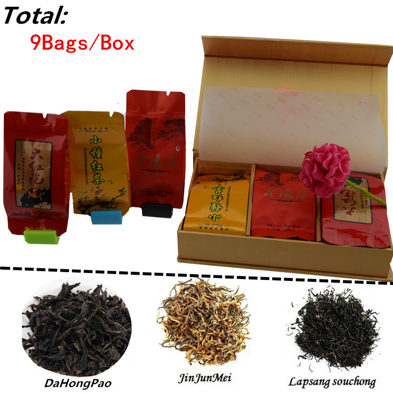 Vip 9 bags/box Organic Chinese Tea Different flavors Jinjunmei Dahongpao Lapsang souchong Black Oolong Secret Gift