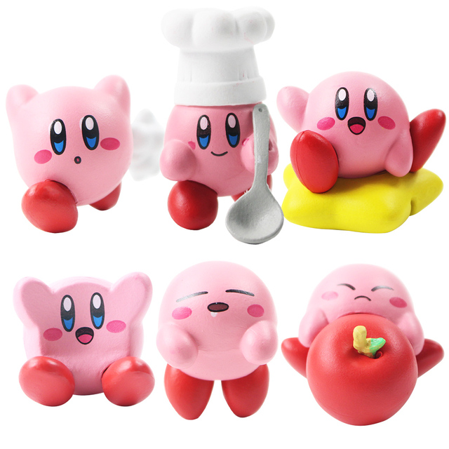 6pcs/lot 3-4cm Cartoon Cute Kirby Mini Pendant PVC Action Figure Collection Model Toy Doll For Kids Gift