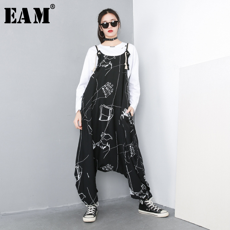 [EAM] 2019 New Autumn Winter Big Size Personality High Waist Print Pocket Stitch Loose Baggy Pants Women Jumpsuit  Fashion 1C057