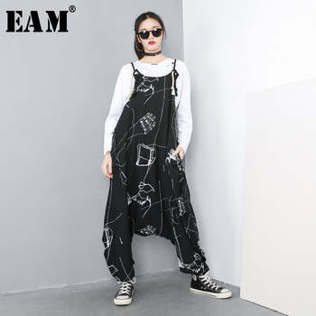 [EAM] 2020 New Spring Autumn Big Size Personality High Waist Print Pocket Stitch Loose Baggy Pants Women Jumpsuit  Fashion 1C057