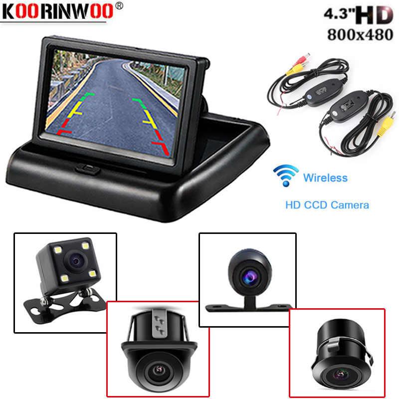 Koorinwoo автомобильный стиль, беспроводной 4,3 HD Складной автомобильный монитор заднего вида, дисплей заднего вида с резервной камерой заднего вида для Vehice