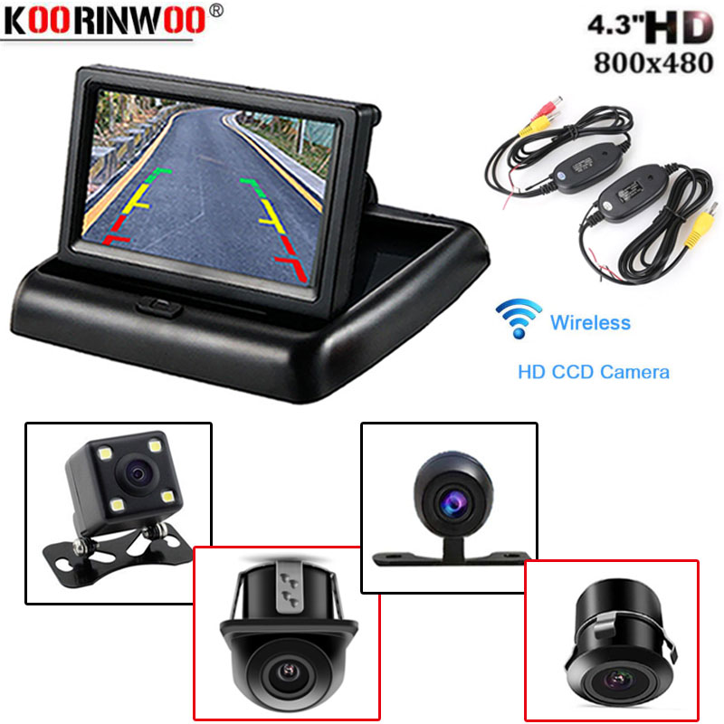Koorinwoo Car-styling Wireless 4.3 HD Foldable Car Rear View Monitor Reversing Display With Backup Rearview Camera For Vehice