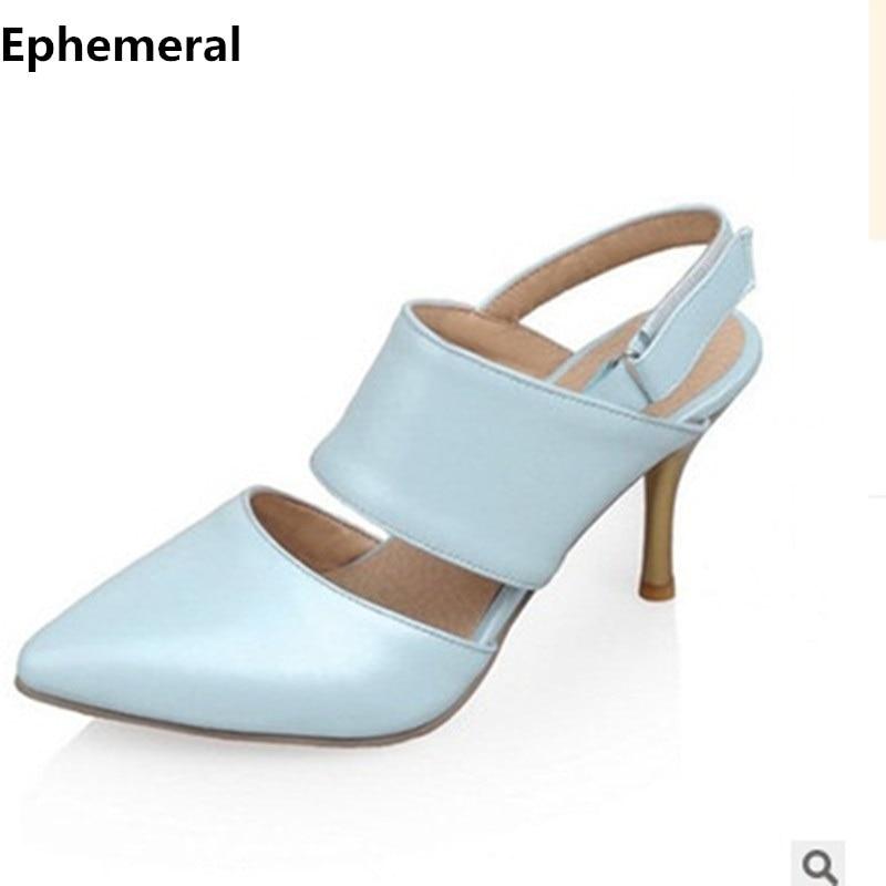 Lady Fashion Hook & Loop Buckle Elegante cuero suave Cerrado Punta estrecha Tacones altos Sandalias tallas grandes Zapatos (4-16) Bombas para mujeres