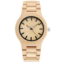 Fashion Wooden Watch Male Wooden Strap 100 Natural Bamboo Wood Quartz Wrist Watch For Men Luxury