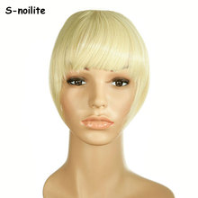 S-noilite short Striaght bangs Clip on Clip in Front Neat Bang Fringe clip in Hair Extensions Real Synthetic One piece(China)