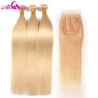 Ali Coco Brazilian Straight 3 Bundles With Lace Closure #613 Blonde 100% Human Hair Weaving 613 Bundles with Closure