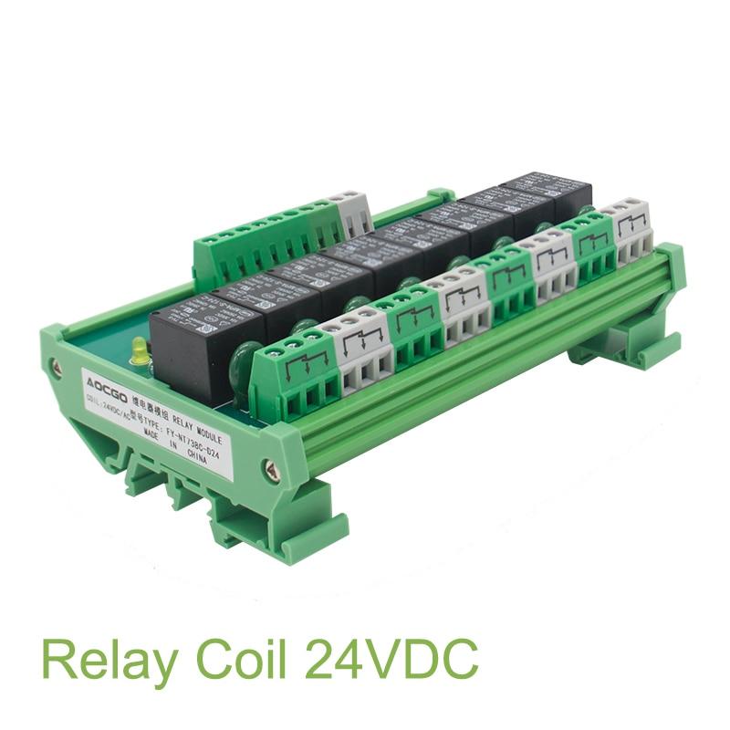 8 Channel T73 Interface Relay Module 24VDC DIN Rail Panel Mount