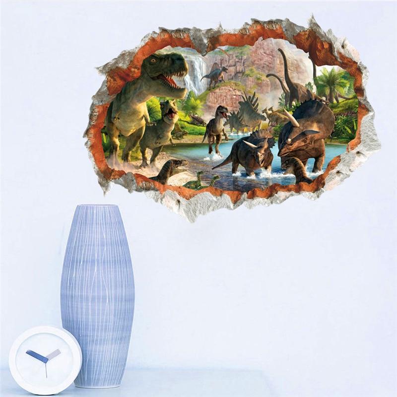 3d etkisi dinozor dünya duvar çıkartmaları çocuk odaları için - Ev Dekoru - Fotoğraf 4