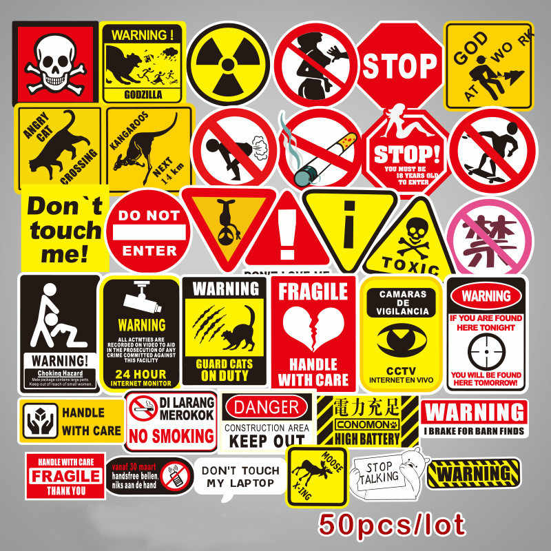 50Pieces/set Warning sign SQL Programming Geek Hacker