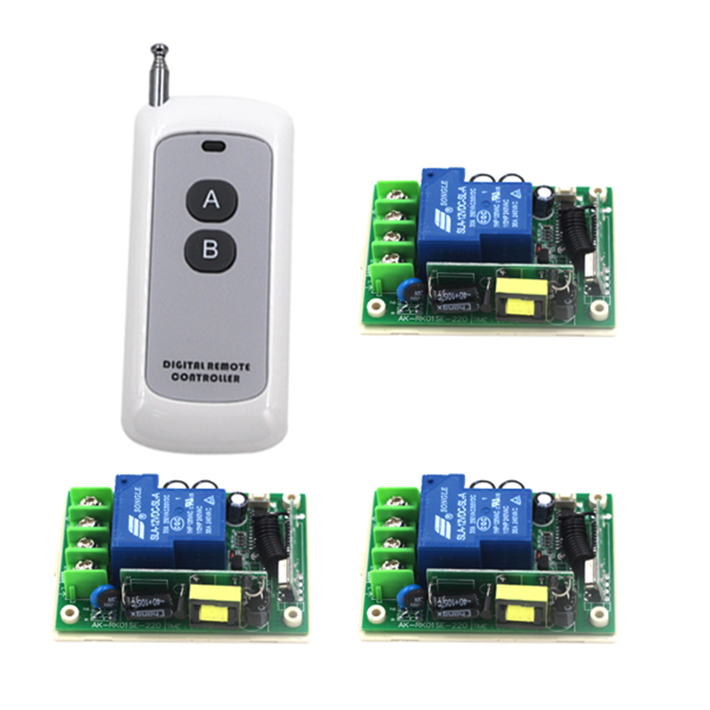 High power 85V- 250V 30A 3000W RF Wireless Remote Control Switch and 200M remote System For Smart/Intelligent Home light 4122 ac85v 250v wide range output rf wireless remote control system 3 receivers transmitter high power remote for smart home control