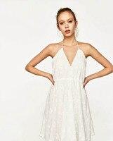 散歩でダーク2017夏新しいファッションセクシーなv襟キャミソールドレス熱い販売の女性のショートドレスホワイトレディース服安