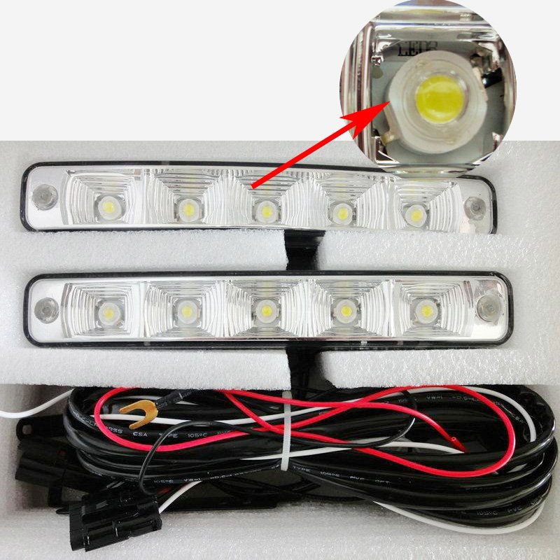 5 LED Universal Car Auto Driving Lamp Fog light 12V Led DRL Daytime Running Light for BMW For Audi For VW super bright white auto super bright 3w white eagle eye daytime running fog light lamp bulbs 12v lights car light auto car styling oc 25