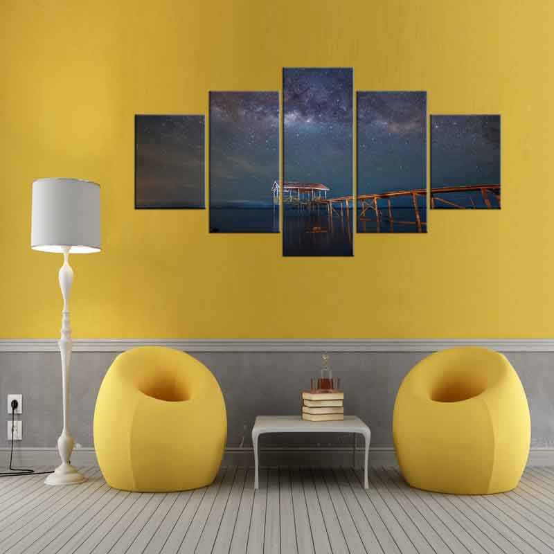 5 Pieces Canvas Wall Art Pictures Modern Living Room Decor Starry Sky Wooden Bridge Night Light Landscape Print Poster Framed