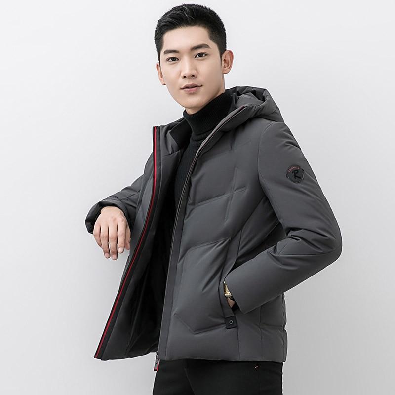 New 2019 autumn winter warm   down     coat   men hooded slim   down   jacket fashion short outerwear plus size