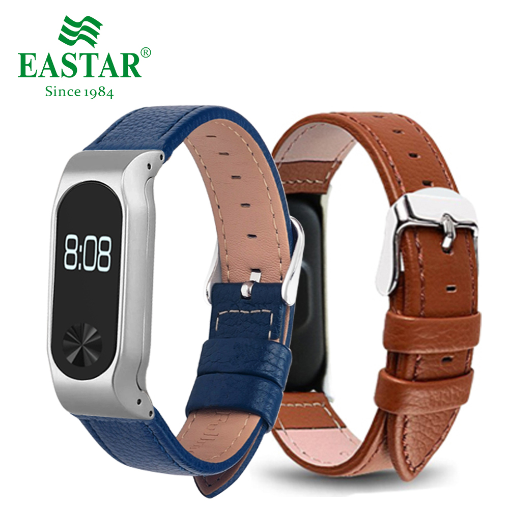 Eastar Colorful Leather Smart Watch Band For XiaoMI Band 2 Stainless Bracelet Replace Wristbands Leather Strap For Mi Band 2