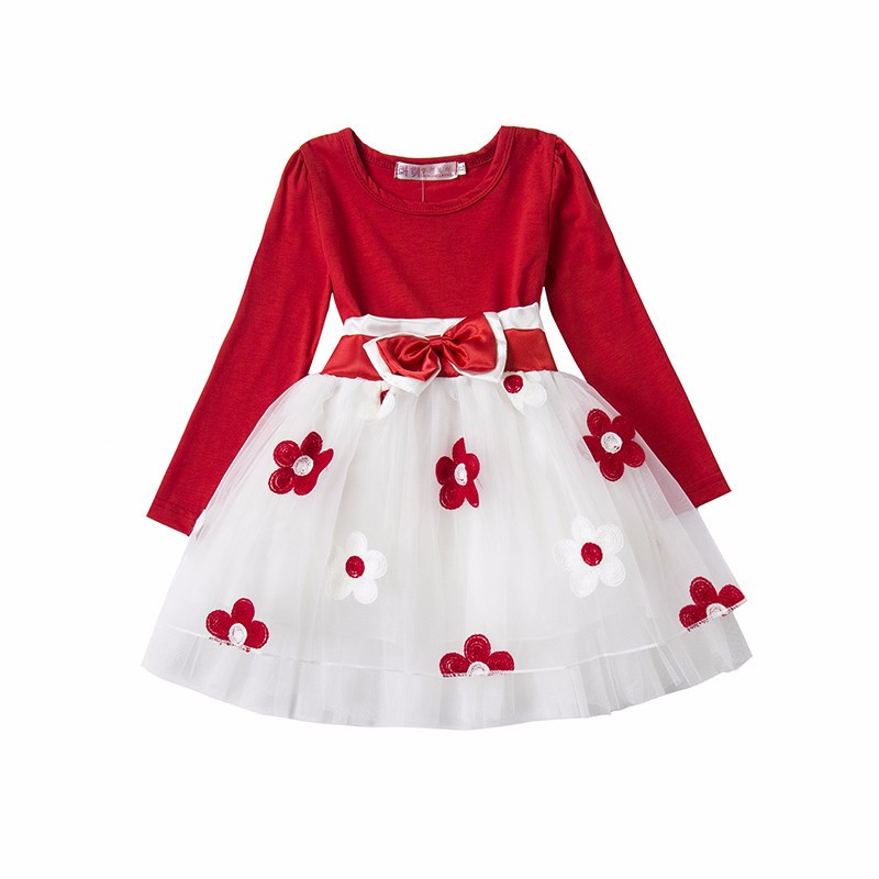 Baby 1 Year Birthday Newborn Flower Dress Autumn Long Sleeve Cute Stitching Color Floral Vestido Clothes For Newborn Toddler