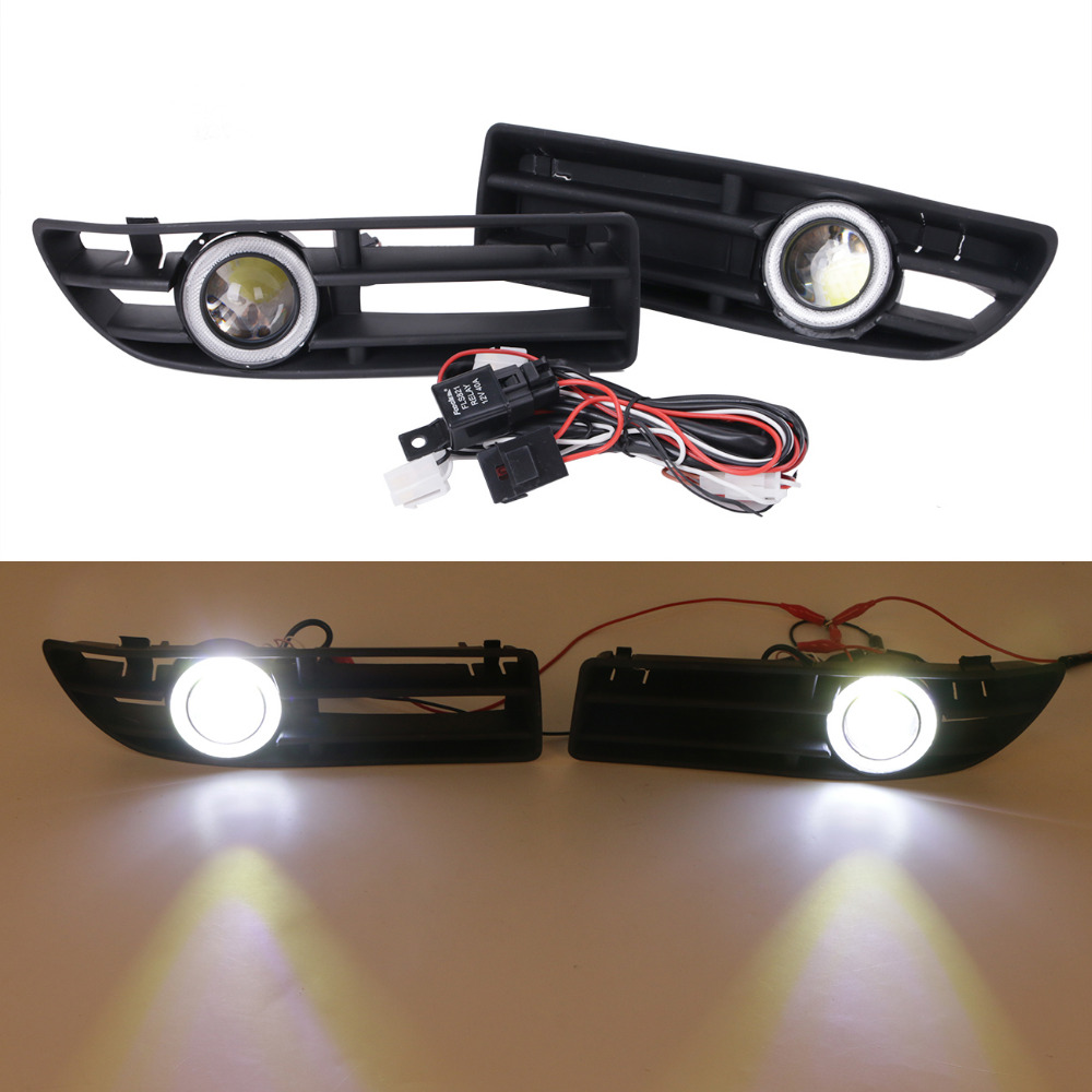 LED Fog Lights Kit For VW Bora JETTA TDI GLS GLX 1999 - 2004 Angel Eyes Convex Lens Light Front Bumper Grille Grill #9444 front bumper fog lamp grille led convex lens fog light angel eyes for vw polo 2001 2002 2003 2004 2005 drl car accessory p364