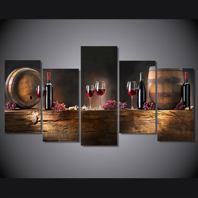 5 panel printed modular painting Barrel red wine canvas print cheap art modern home decor wall art picture for living room F0066