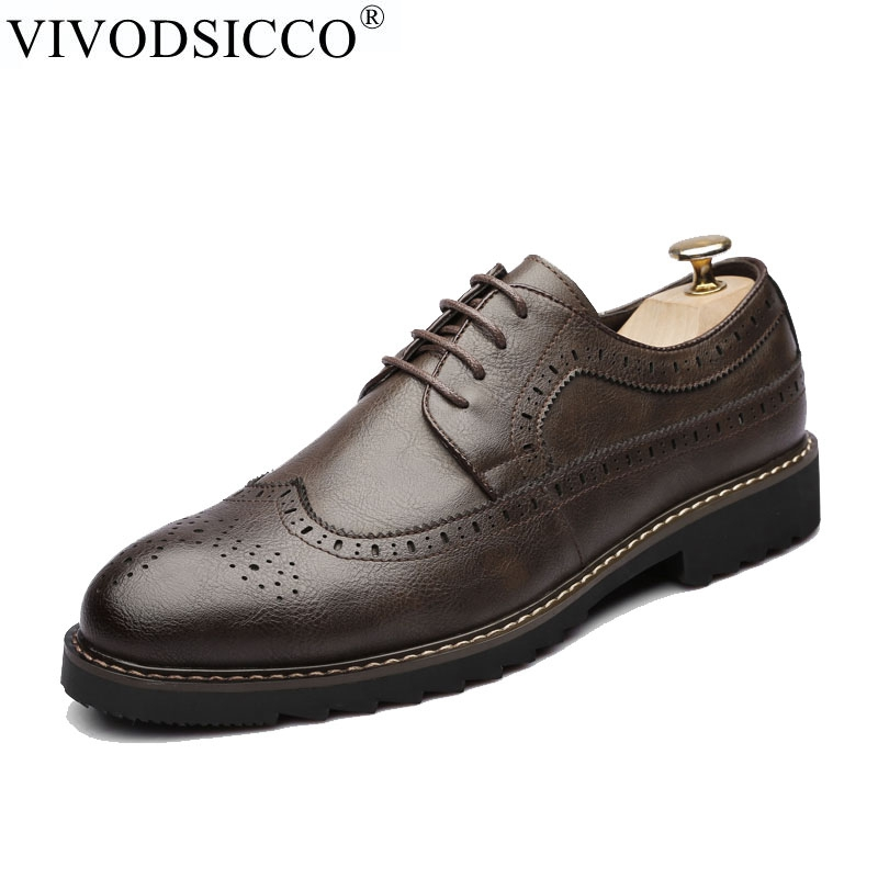 VIVODSICCO Men Oxfords Shoes British Style Retro Carved Genuine Leather Shoe Brogue Shoes Lace-Up Bullock Business Men's Flats brand new spring men fashion lace up leather retro brogue shoes casual flat breathable carved shoes bullock oxfords shoes wb 55