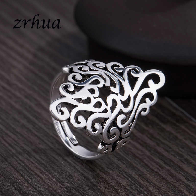 ZRHUA 高品質 925 スターリングシルバーための女性ガールウェディング婚約リーフビッグ指と操作卸売オープン Anillos