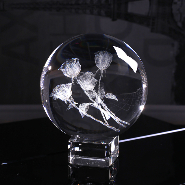 60mm 3D Laser Engraved A Bunch of Roses Sphere K9 Crystal Glass Ball for Birthday Gift Souvenir Home Decor Ornament for Lovers