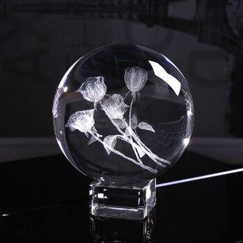 60mm 3D Laser Gravierte EINE Reihe von Rosen Kugel K9 Kristall Glas Ball für Geburtstag Geschenk Souvenir Wohnkultur ornament für Liebhaber