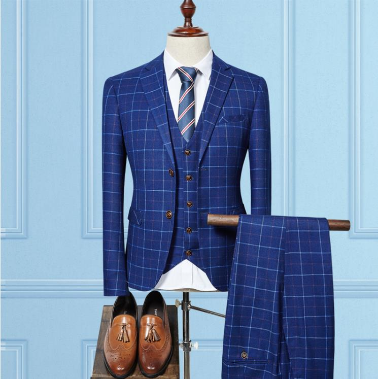 (Jacket+Vest+Pants) 2019 High Quality Fashion Grid Check Tuxedo Men Suit Slim Fit Formal Wedding Terno Masculino Suits