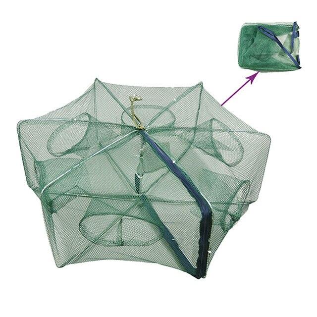 58*22 CM składany przenośny Nylon 6 otworem do połowu krewetki pułapka sieć rybacka kraba przynęty Minnow obsada Mesh pułapka